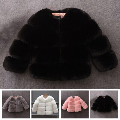 Winter Kids Girls Faux Fur Jacket Coats Thick Warm Parka Outerwear Clothes 4-11Y