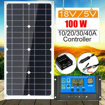 100W 12V Dual USB Flexible Solar Panel Battery Charger Kit Car Boat W/Controller