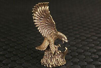 Chinese bronze handmade eagle Statue figure Tea Pet decoration collectable gift