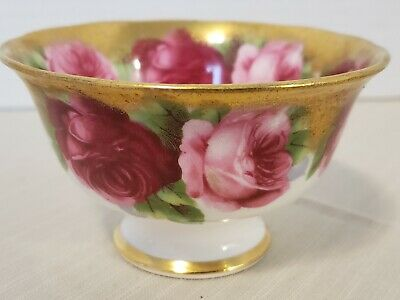 Royal Albert Old English Rose Footed Open Sugar Heavily Gilded