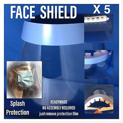 Full Face Covering Shield Visor Clear Glass Face Protection . 5 Pcs