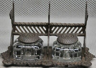 Antique Eastlake style double well cast iron and cast glass inkwell