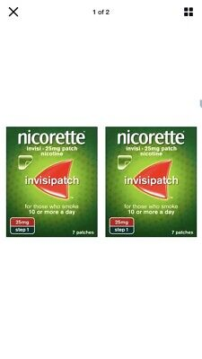Nicorette Step 1 Patches 7 x 25mg *2 BOXES* FAST (14 Patches In Total) 9/2022