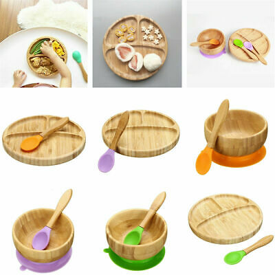 Cute Bamboo Baby Kids Suction Table Food Tray Plate / Bowl Matching Spoon Set