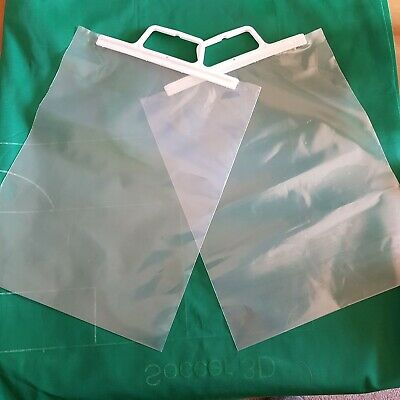Clear / White Plastic Carrier Bags Gift Shop Strong Patch Handle Bag Boutique