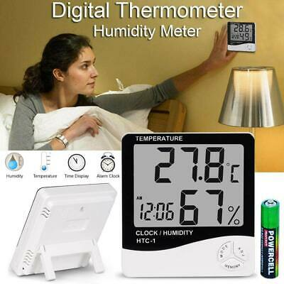 Digital Humidity Meter Thermometer Indoor LCD Hygrometer Temperature Alarm Clock