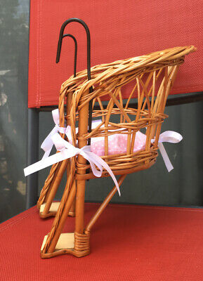 "18"" Doll Child's Bicycle Wicker Seat Doll Carrier"
