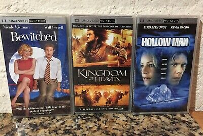 Lot Of 3 PSP UMD Movies Kingdom Of Heaven ,Hollow Man And Bewitched Tested!