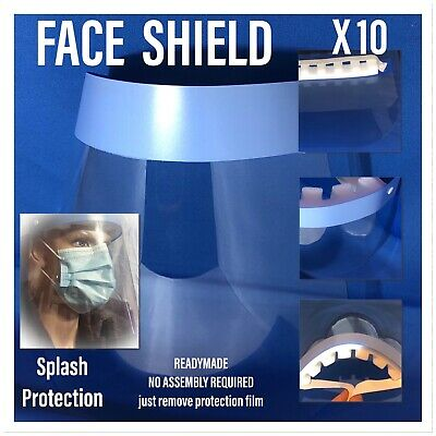 Full Face Covering Shield Visor Clear Glass Face Protection . 10 Pcs