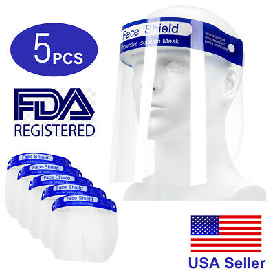 5 PCS Safety Full Face Shield Reusable Washable Protection Cover Face Mask