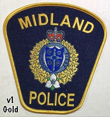 Midland Ontario Canada OBSOLETE Police Patch GOLD