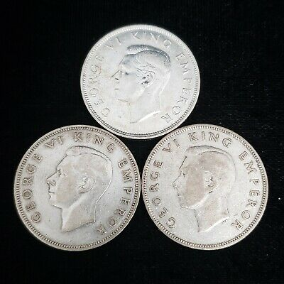 Lot of 3 1943 1944 1945 New Zealand Silver Half 1/2 Crown George VI Coin 5NZ4513