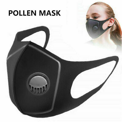 Black Face Mask With Filter Air Valve Washable Reusable Breathable Uk Seller