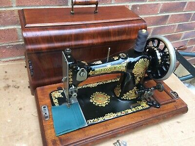 Beautiful Jones Family Vintage sewing machine with case