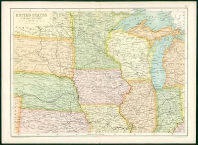 1912 Original Colour Antique Map - UNITED STATES CENTRAL DIVISION (72)