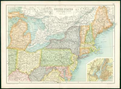 1912 Original Colour Antique Map - UNITED STATES NORTH EASTERN DIVISION (74)