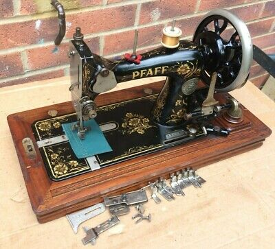 Antique  Pfaff Model R Handcrank Sewing machine with accessories