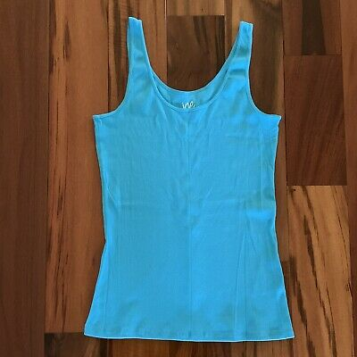 Womens Joe Boxer Blue Turquoise Cotton Polyester Ribbed Tank Top, Size XL, NWOT
