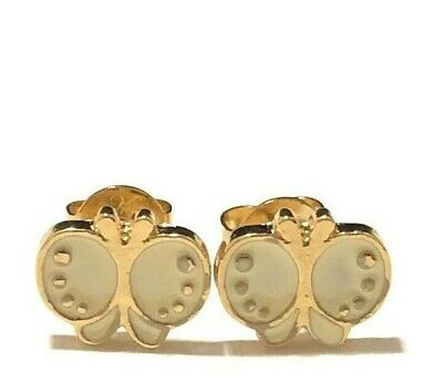 18K Gold Plated Butterfly White Enamel Girl Toddler Earrings Stud