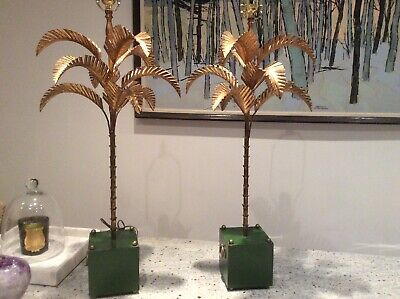Stunning Pair Mid Century Gilt Palm Lamps. Hollywood Regency