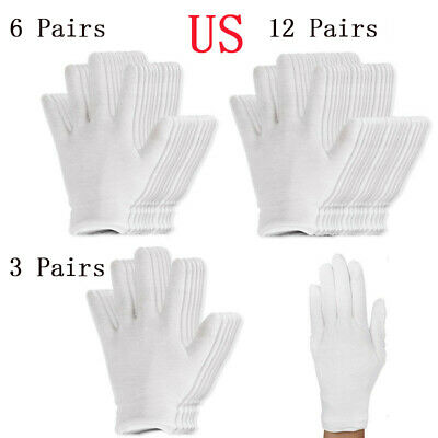 12 Pairs Thin Reusable Elastic Cotton Work Gloves Dry Hand Moisturizing Cosmetic