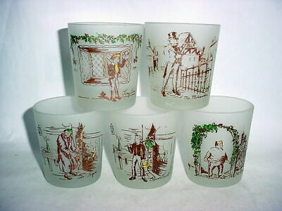 Vintage Collectible glassware frosted glass Dickens series for booklovers