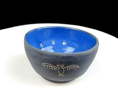 "Native American Pottery Huber Signed Blue Matte Finish Incised Symbols 4"" Bowl"
