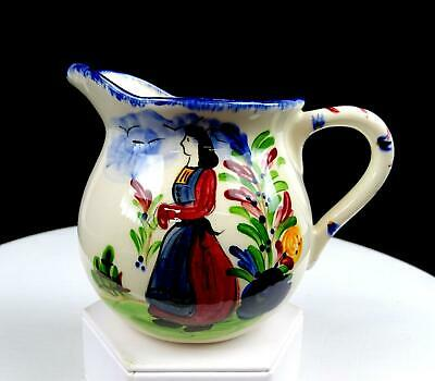 """Quimper French Faience Hand Painted Woman In Field 4"""" Creamer"""