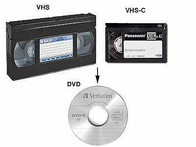 RIVERSAMENTO VHS VHS-C SVHS Hi8 Video8 MiniDV pellicole 8mm e Super8 idea regalo