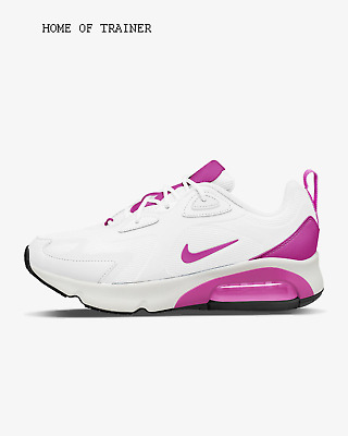 Nike Air Max 200 White Black Fire Pink Girls Women's Trainers All Sizes
