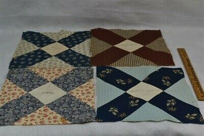 antique quilt blocks signature early brown blue dated 1889 Leominster Mass