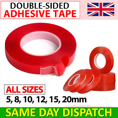 DOUBLE SIDED TAPE CLEAR, HEAVY DUTY EXTRA STRONG MOUNTING TAPE 5mm 8mm 10mm 20mm