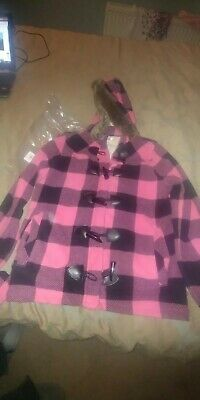 Girls Pink Checked Hooded Duffle Coat from Marks and Spencers - Age 13-14 Years