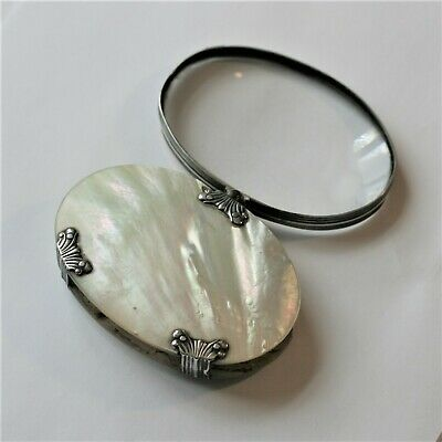 C1880 Mother Of Pearl Folding Magnifying Glass With Silver Mounts In Good Cond.