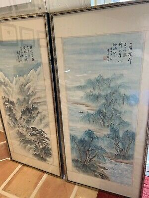 Antique Chinese pair paintings landscapes calligraphy seal mark SUPER QUALITY