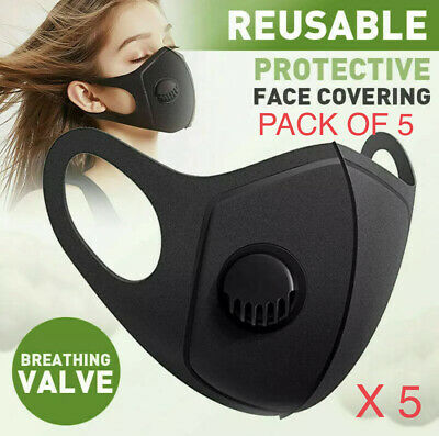 BLACK SPONGE FACE COVER PROTECTION WITH FILTER VALVE WASHABLE AND REUSABLE 5pcs