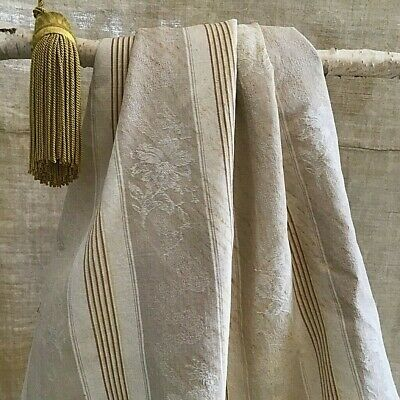 Antique French Linen Brown Damask Stripe Ticking Fabric Rustic RARE!