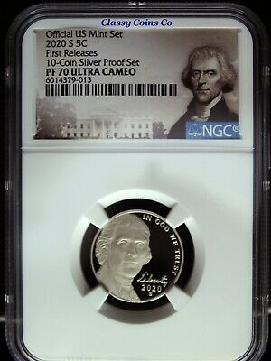 2020 S NGC PF 70 UCAM Jefferson Nickel ☆☆ First Release ☆☆ 10 Coin Silver Proof