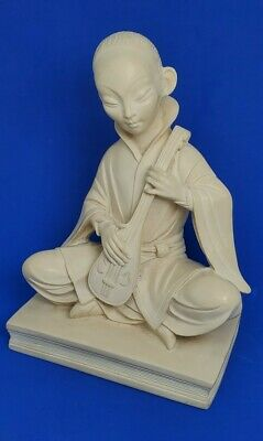 Vintage Antique Japanese Carved Netsuke Okimono Girl Lute Book Signed Sculpture