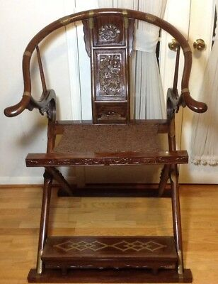 Old Chinese Carved Wood Horseshoe Back Folding Arm Chair Brass Hardware Support