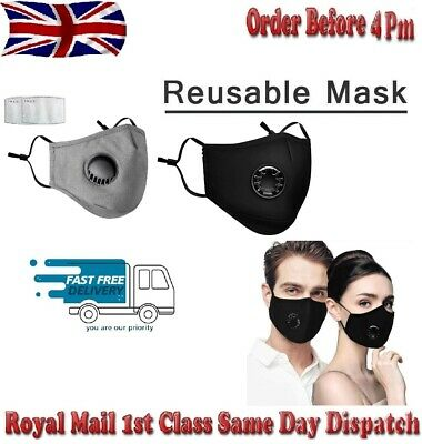 PM2.5 Anti Air Pollution Face Mask Respirator With Filters Washable& Reusable