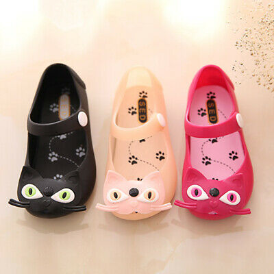 Baby Girls Jelly Shoes Toddler Kids Summer Fashion Cute Cat Soft Cartoon Sandals