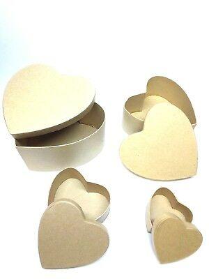 Cardboard Box Heart to Decorate, Decoupage, Various Sizes