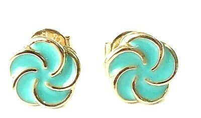18k Gold Plated Flowers Earrings Turquoise Girl Toddler