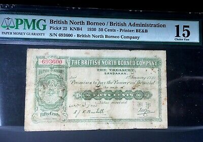 British North Borneo 50 Cents  1930 P-25  Rare Date