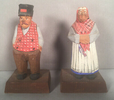2 Gerald 'Pat' Hannah Hand Carved Folk Figures Morin Heights Quebec signed NR