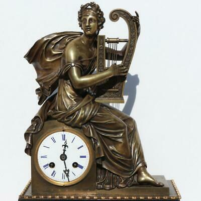 French Empire Bronze Mantel Pendulum Bell Clock Greek Muse Terpsichore Sculpture