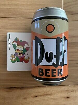 THE SIMPSONS Duff Beer 2002 Collectible Beer Can with Sealed Playing Cards