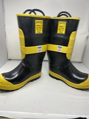 Ranger Firemaster Steel Toe Rubber Boots Men's Sz 9 1/2 M Black Yellow