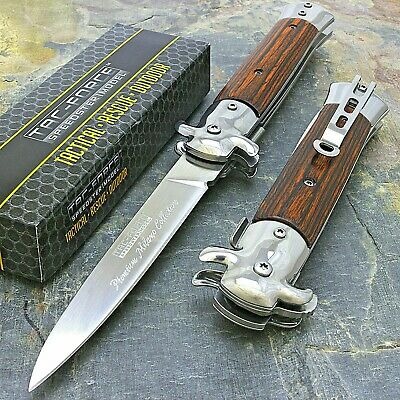 """9"""" TAC FORCE MILANO STILETTO TACTICAL WOOD SPRING ASSISTED FOLDING KNIFE Pocket"""